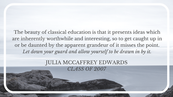 A seascape with a quote by Julia McCaffrey Edwards.