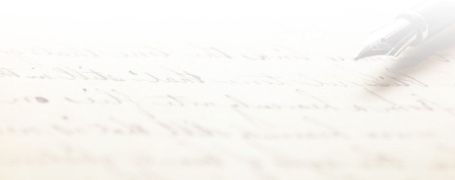 Fountain pen on an antique handwritten letter with a white gradient.